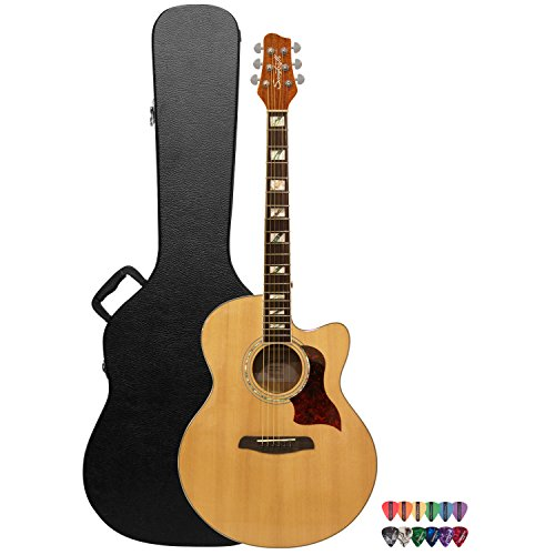 Sawtooth Maple Series Acoustic-Electric Cutaway Jumbo Guitar with Hard Case and Pick Sampler