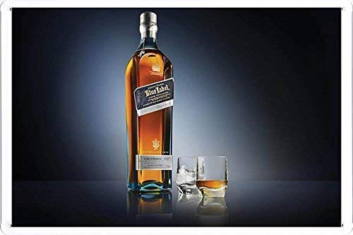 Hugh Tin Sign Johnnie Walker Whiskey Blue Label Tin Metal Sign 11.8 x 7.8 Inch (Johnnie Walker Whisky Blue Label)