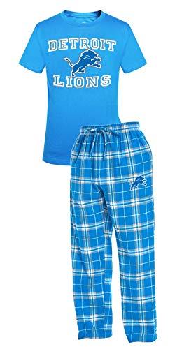 Concepts Sport Detroit Lions NFL Great Duo Men's T-Shirt & Flannel Pajama Sleep Set (Detroit Lions Pajamas Mens)