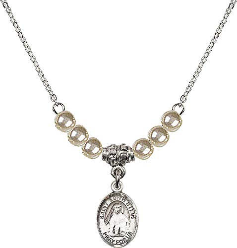 18-Inch Rhodium Plated Necklace with 4mm Faux-Pearl Beads and Saint Edith Stein Charm. Patron Saint of Martyrs/Loss of Parents ()