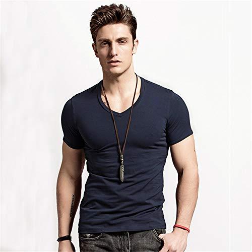 XUDIANG Men's Solid Color Short Sleeve V-Neck Henry Shirt Round Neck Slim Casual T-Shirt-(V-Blue L)