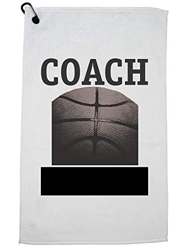 Hollywood Thread Basketball Coach Ball Graphic Golf Towel with Carabiner Clip by Hollywood Thread