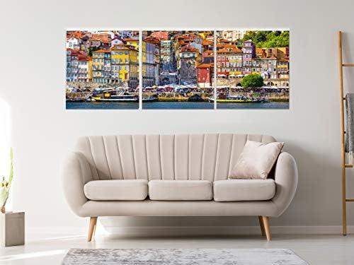 Pack de 3 Cuadros de Alumino Dibond con Reserva de Brillo y con Soporte Oporto | Artículo Decorativo de Habitaciones | 40 cm x 40 cm |Cuadros, Elegantes, Innovadores |: Amazon.es: Hogar
