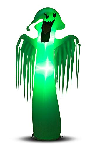 DAMGOO 8 Ft Inflatable Halloween Spooky Ghost Decoration Ghost with Green Light Decorations Inflatables for Lawn Garden Home Indoors Outdoors Day Night by DAMGOO