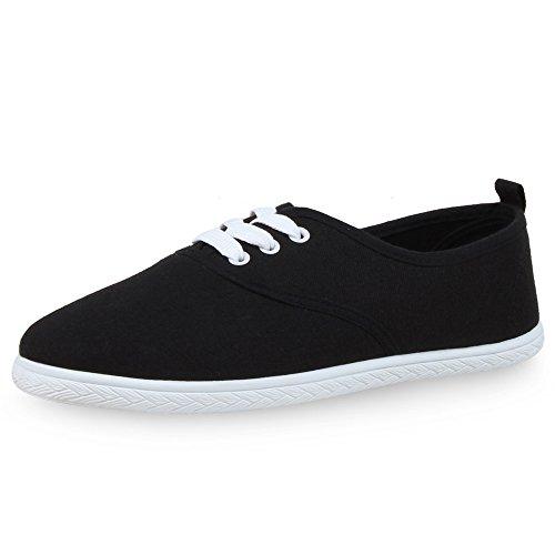 napoli-fashion Damen Sneakers Freizeit Schuhe Stoffschuhe Jennika Schwarz