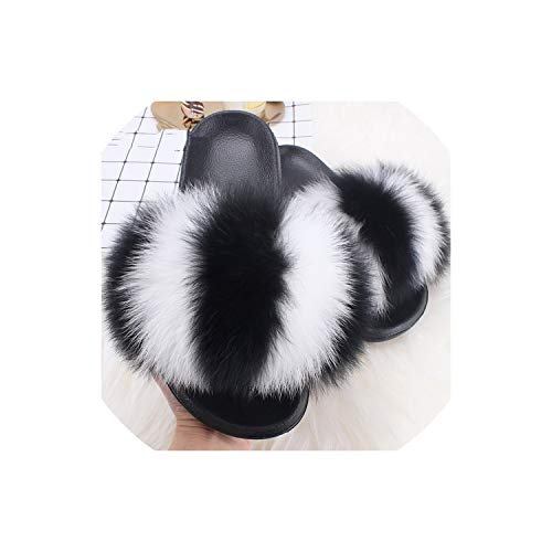 Fox Raccoon Fur Slippers Flip Flops Casual Fluffy Fur Sandals Plush Shoes,White and ()