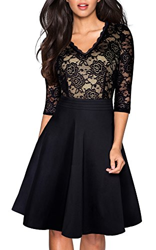 HOMEYEE Women's Chic V-Neck Lace Patchwork Flare Party Dress A062 (4, Black)