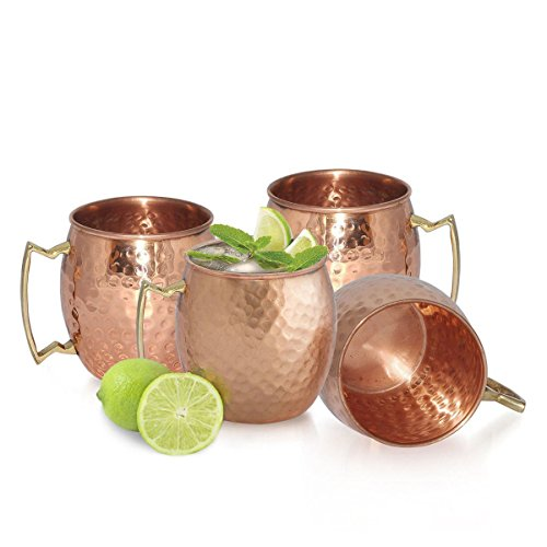 Thegood88 4 Hammered Moscow Mule Mug Drinking Cup 100% Pure Solid Copper Brass Set 16 Oz EB0032 Copper Moscow Mule Set Drinking New Ounce Gift