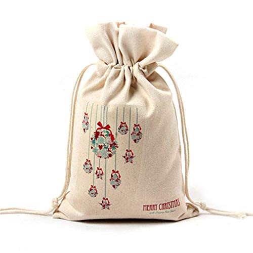 Mydufish 1PC New Year Christmas Candy Bag Santa Claus Drawstring Canvas Sack Tableware -