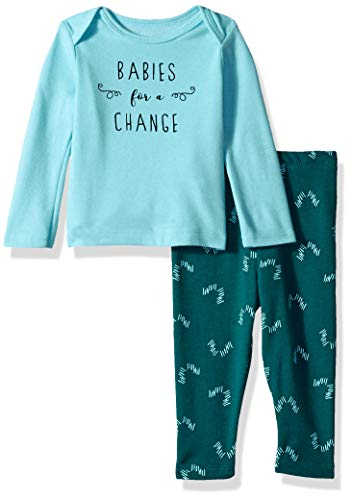 Hanes Ultimate Baby Boys Flexy 2 Piece Set (Pant with Long Sleeve Crew Tee), Blue/Green Print, 6-12M