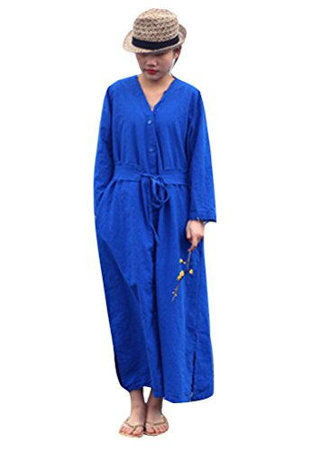 With Color Dresses Sleeve Fashion Blue Women's Belt Soild Long Soojun wBHFq04