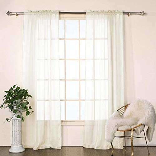 Duck River Textile Chianti Striped Linen Look Rod Pocket Window Curtain Drapes for Bedroom, Livingroom, Kids Room, Children, Nursery-Assorted Colors-Set of 2 Panels, 40 x 84 Inch, Beige, 2 Piece -