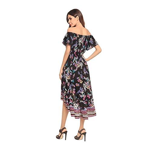 810fbb1212b3 Sommer Damen Boho Schulterfrei Floral bedruckten Kleid Kurzarm Strand Maxi  Kleider Schwarz wls5iRBW ...