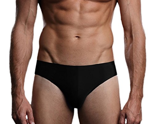 Soojun Men's Second Skin Underwear Elastic Ice Silk Briefs Bikini, Black, Medium Second Skin Bikini