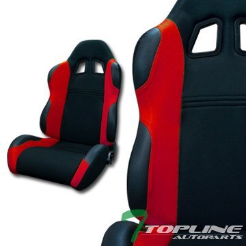 Topline Autopart TS Sport Black Red Cloth Fabric Car Reclinable Racing Bucket Seats Sliders L+R T01 (Corbeau Bucket Seats compare prices)