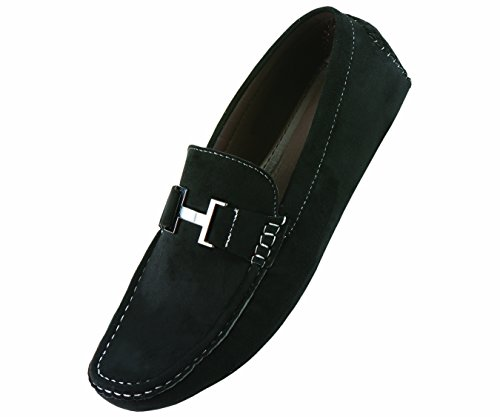 """Amali Mens Casual Shoe Driving Moccasin Loafer in Black Microfiber With Gun Metal """"H"""" Ornament: Style 1417 Black-000 10 D (M) US"""