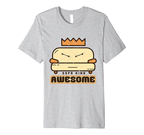 Mens Sofa King Awesome Funny Play on Words T-Shirts Medium Heather Grey (Halloween Costumes Play On Words)