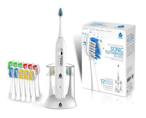 Cheap Pursonic S420 High Power Rechargeable Sonic Toothbrush With 12 Brush Heads  a Storage Charger (White) pursonic toothbrush