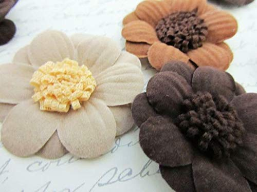 30 Faux Suede 2 Layers Flower Applique/Brooch/Craft/Trim/Sewing/Brown/Beige #ID-657