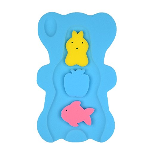 th Sponge Anti Bacterial and Skid Proof Baby Bath Mat Newborn Odor Free (Blue) ()