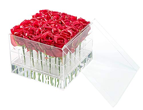 - Flower Box Water Holder, Acrylic Rose Pots Stand - Decorative Square Vase with Removable 2 Tiers - Valentine's Day/Mother's Day/Birthday Gift, 25 Holes