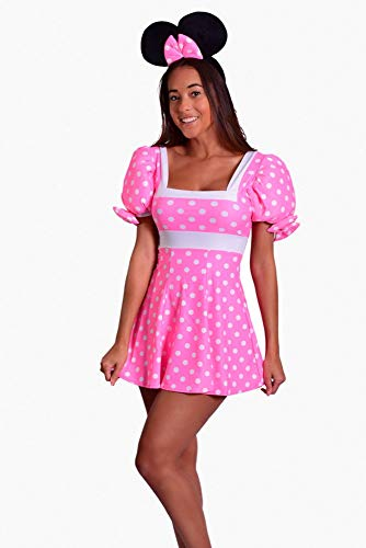 J. Valentine Women's Pretty In Pink Mouse Costume, Pink/White, Large