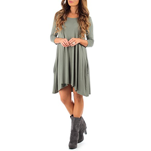 Women's Long Sleeve Cross Back T-Shirt Dress with Pockets by Rags and Couture - Made in USA (Made Outfit)
