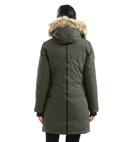 Triple F.A.T. Goose Alistair Womens Hooded Arctic Parka With Real Coyote Fur (Medium, Olive) by Triple F.A.T. Goose (Image #4)