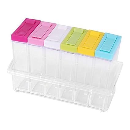 eDealMax plástico Domésticos de Cocina Condimento Sal de la especia condimento contenedor de almacenamiento Box Set