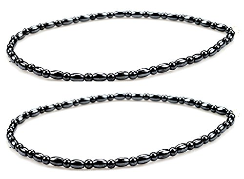 PURPLE WHALE Magnetic Hematite Anklet Bracelet for Women Healing Therapy, Good for Relieving Joint Pain, Increases Energy- 2 Pieces