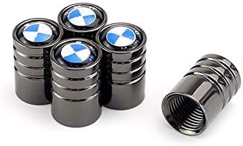 TK-KLZ 5Pcs Chrome Car Wheel Tires Valve Stem Caps for BMW GT X1 X2 X3 X4 X5 X6 X7 M 1 2 3 5 6 7 8 Series M2 M3 M4 M5 Z4 i3 i8 Decorative Accessories Black