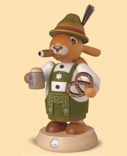 German incense smoker Easter bunny Bavarian, height 18 cm / 7 inch, original Erzgebirge by Mueller Seiffen