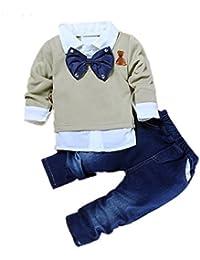 2pcs bebé Baby Boys lazo camisa Tops + Denim Pantalones Caballero ropa Outfits
