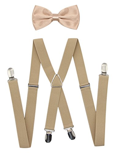 (JAIFEI Men's X Back Suspenders & Bowtie Set - Perfect For Weddings & Formal Events (Champagne))