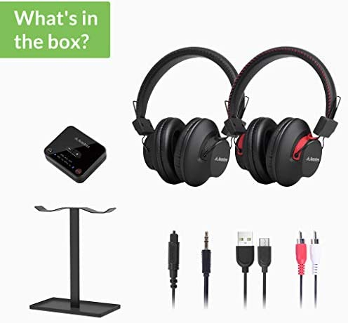 [New] Avantree HT41899 Dual Bluetooth 5.0 Wireless Headphones for TV Watching with Transmitter (Digital Optical AUX RCA PC USB), 40 Hrs Playtime Wireless Hearing Headset, Plug n Play, No Audio Delay 41EDlmxRthL