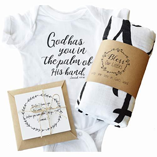 Newborn Baby Gift Set - Scripture Swaddle Blanket, Newborn Onesie and Bible Verse Cards - Baby Shower - Welcome Home Newborn Gift - Isaiah 49:16 (Newborn Gift Set) -