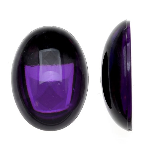 Beadaholique Vintage Lucite Plastic Oval Domed Cabochon - Amethyst/Foiled 18x25mm (6) ()