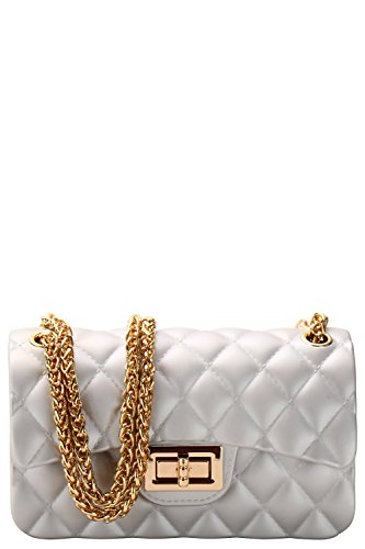 Luxury Silicone Quilted Shoulder Bag (SILVER (Replica Woman Handbags)