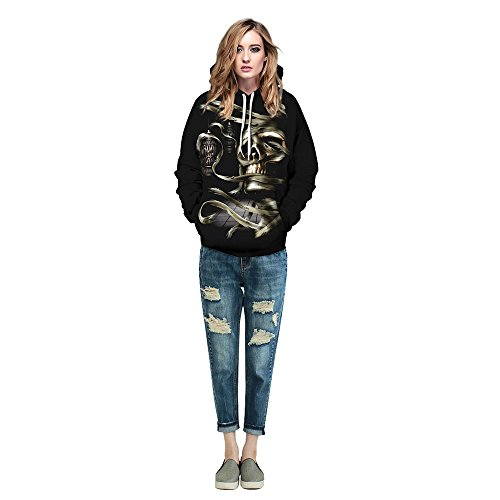 MagiQK Hoodie, Halloween Punk Sweatshirts, Funny 3D Printing Street Snap Lover's Hoody, Mummy Pullover (L/XL, Women) -