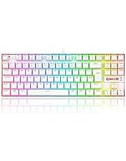 لوحة مفاتيح الألعاب الميكانيكية Redragon K552 KUMARA RGB بالكامل - مفاتيح بنية - مفاتيح إنجليزية وعربية - أبيض
