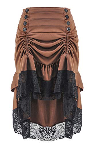 Alivila.Y Fashion Womens Steampunk Skirt Victorian High Low Dress 31706-Brown-2XL]()