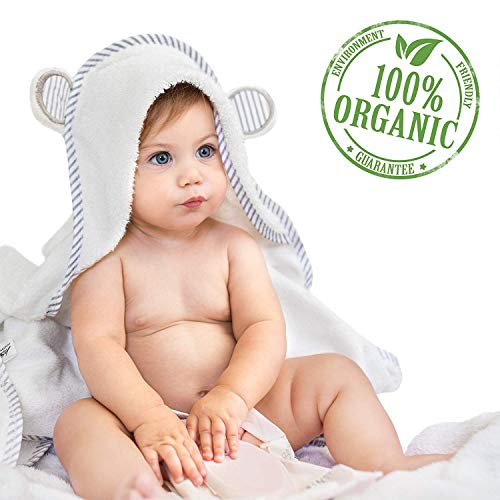 Organic Bamboo Hooded Baby Towel - Soft, Hooded Bath Towels with Ears for Babies, Toddlers - Hypoallergenic, Large Baby Towel | Perfect Baby Shower Gift for Boys and Girls by San Francisco Baby - Infants Hooded Bath Towel