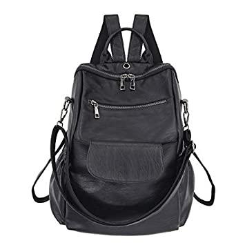 Amazon.com  Women s fashion washed pu leather designer backpack best  waterproof bookbags travel shopping rucksacks tote (Black PU Increase )   Different ... 7dcb774d21