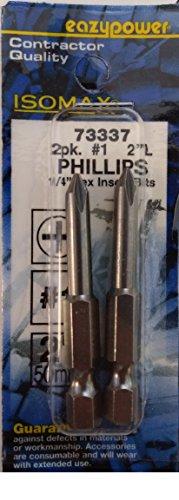 Insert Isomax (Eazypower Isomax 73337 2 Pack #1 Phillips Bits 1/4' Hex)