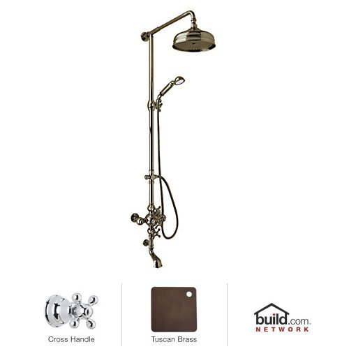 - Rohl AC414X-TCB A4914Xcpn Cisal Shower System with Exposed Thermostatic Valve and Shower Head, Tuscan Brass