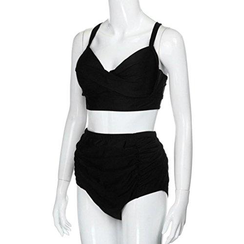Rawdah Las mujeres de traje de baño de cintura alta más traje de baño de impresión flor playa conjunto de bikini (4XL, Negro)