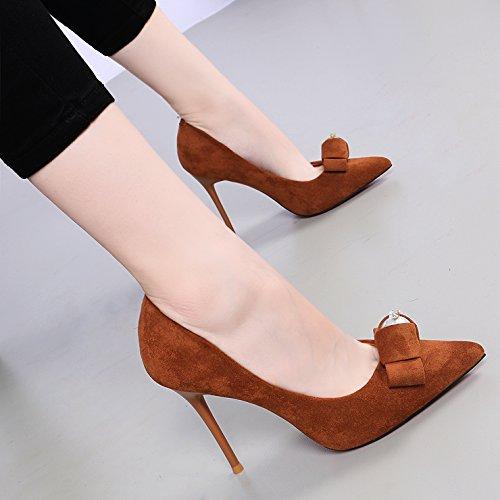 KHSKX-Prinzessin Perle Im Koreanischen Version Hochhackigen Schuhe 10Cm Gut Mit Schmetterlingen Karamell Farbe Frauen Einzelne Schuhe Caramel color