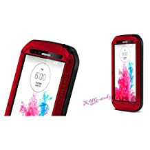 Latest Military Heavy Duty Aluminum Metal Gorilla Glass Shockproof Waterproof Bumper Cover Case for LG G3 NEW @XYG-Study (red)
