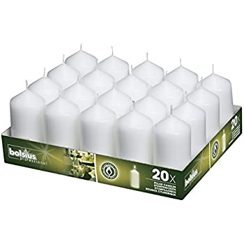 BOLSIUS Tray of 20 White Pillar Candles - 18 Hours Burning Time Candle Set - 2-inch x 4-inch Dripless Candle - Perfect for Wedding Candles, Parties and Special Occasions