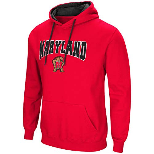 Colosseum NCAA Men's-Cold Streak-Hoody Pullover Sweatshirt with Tackle Twill-Maryland Terrapins-Red-Large